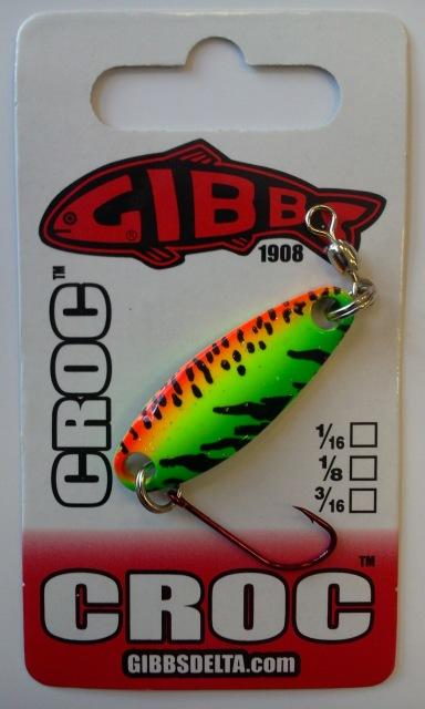CROC Blinker Fire Tiger - CROC Blinker von Gibbs Delta! Blinker der Serie CROC sind super Kunstköder für das Angeln auf Raubfische wie Hecht, Seeforelle, Bachforelle, Regenbogenforelle, Rapfen, Barsch, Döbel, Aitel, Saibling, Äsche. Es gibt die Blinker von Gibbs Delta mit verschiedenen Gewichten. Diese CROC Blinker von Gibbs Delta gehören zu den besten Kunstköder mit Schuppenbild. Sie sind ideal zum Spinnfischen im Uferbereich, oder zum Spinnangeln vom Angelboot aus.